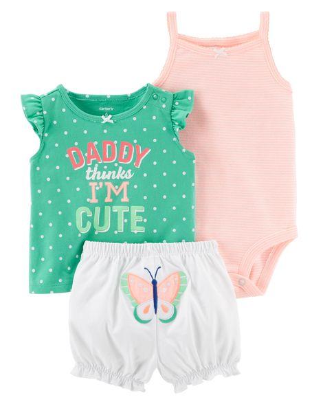 Conjunto short Carter´s Borboleta - Daddy Thinks I´m Cute