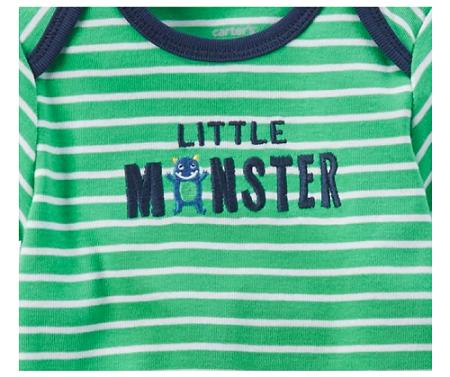 CONJUNTO CARTER´S Little Monster Listra (TRIO BUMBUM FOFO 3 PEÇAS)