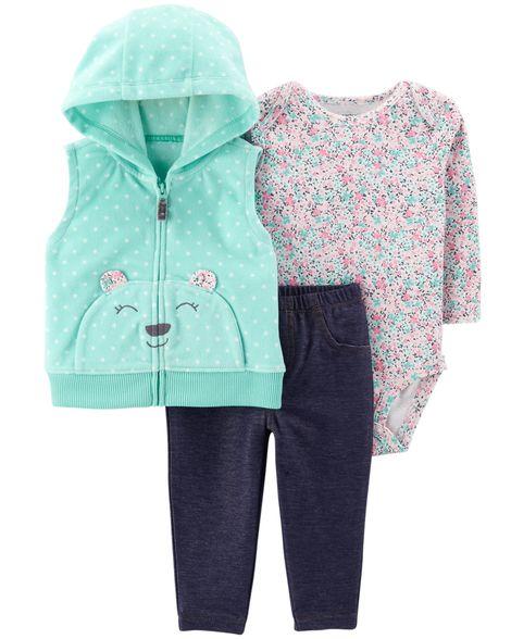 Conjunto Carter´s Linha Luxo Colete Capuz Fleece Ursinho Girl Turquesa
