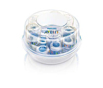 Esterilizador de Micro-ondas para Mamadeiras Philips AVENT SCF281/02 - Transparente/Branco/Azul