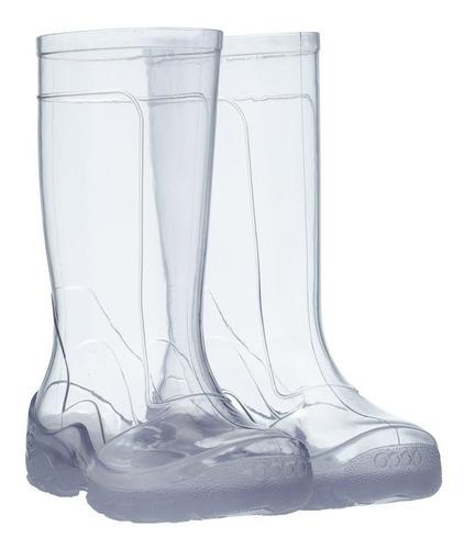 Galocha Transparente Cristal + Meias COLORIDA Listrada