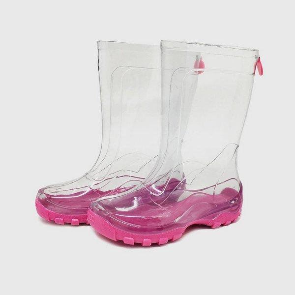 Galocha Transparente Solado Pink