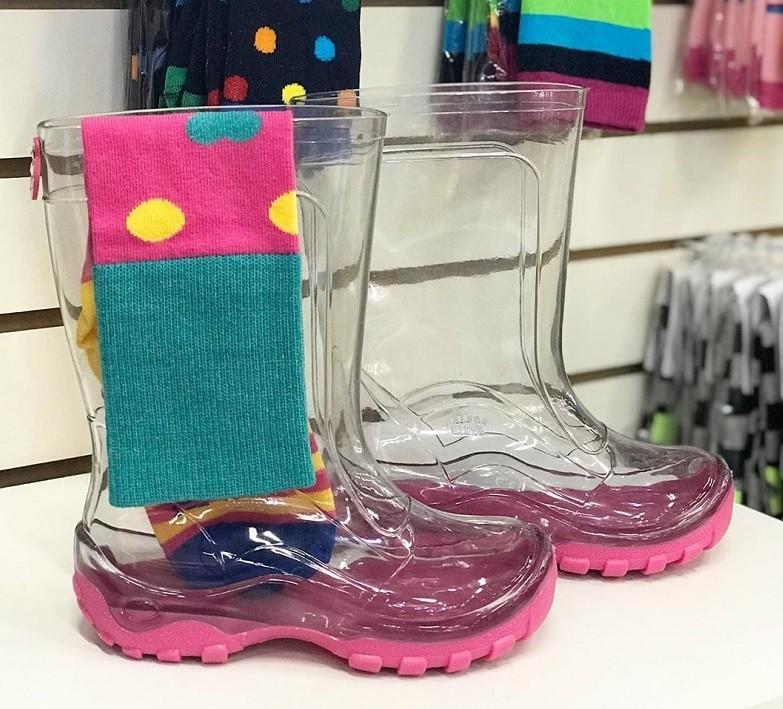 Galocha Transparente Solado Pink + Meias Funny