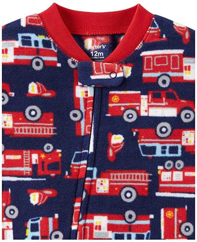 Combo Macacão Carter's Inverno fleece - pijama bombeiro e dino