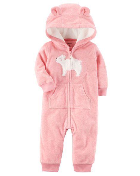 Pijama Fleece Carter's Alto Inverno - urso rosa
