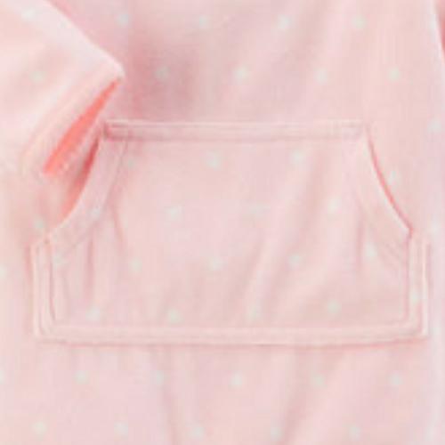 Macacão Fleece Carter´s Coelhinha Rosa Poá Orelhinha