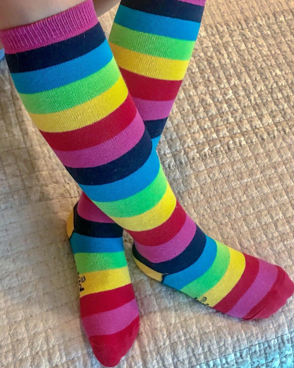 Meia 3/4 Arco-íris - Listrada Kidsplash!