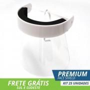Face Shield Protetor Facial em Acrílico - Mod. Premium - Kit c/ 25