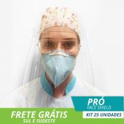 FACE SHIELD PROTETOR FACIAL TOTAL MODELO PRÓ - Kit com 25