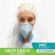 Face Shield Protetor Facial em Acrílico - Mod. Pró - Kit c/ 25