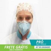 Face Shield Protetor Facial em Acrílico - Mod. Pró - Kit c/ 50