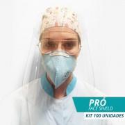 Face Shield Protetor Facial em Acrílico - Mod. Pró - Kit c/ 100