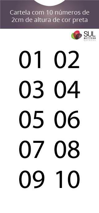 Adesivo Numeração - Recorte 01 a 10
