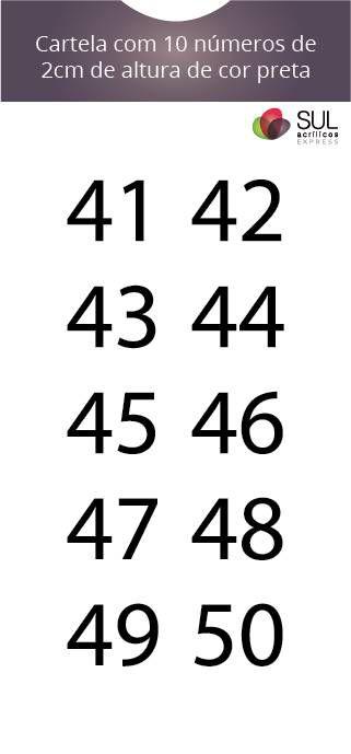 Adesivo Numeração - Recorte 41 a 50