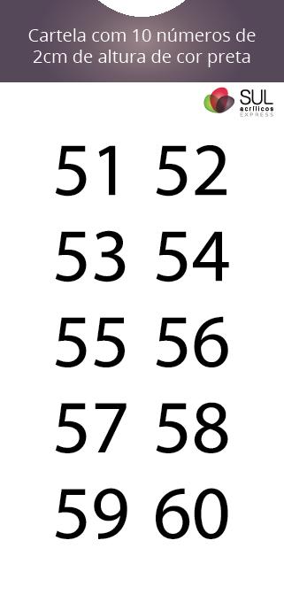 Adesivo Numeração - Recorte 51 a 60