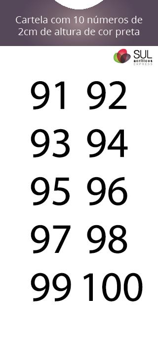 Adesivo Numeração - Recorte 91 a 100