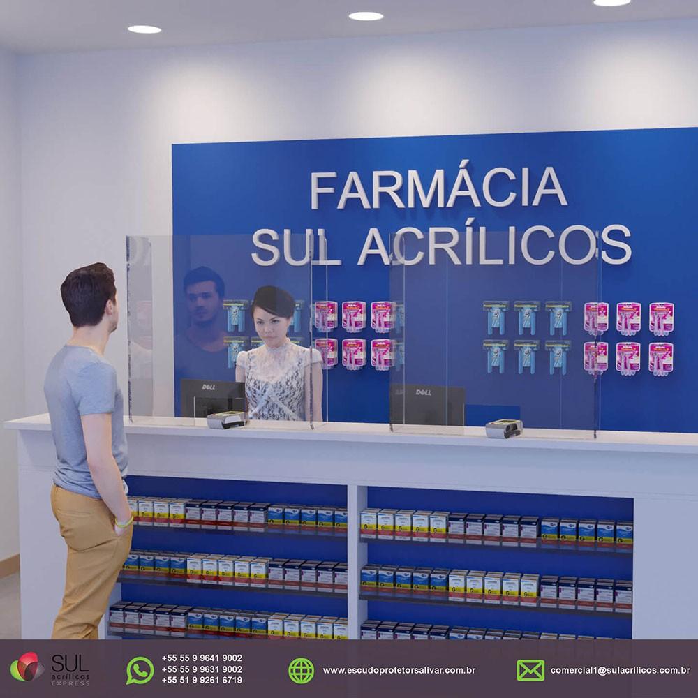 Barreira de Proteção para Balcão de Farmácias em Acrílico