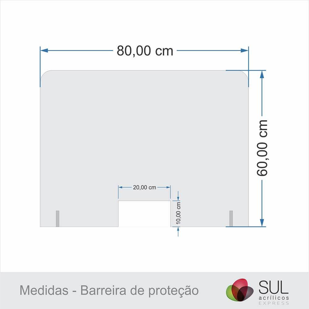 Barreira de Proteção p/ Mesa de Atendimento em Acrílico - 80x60cm
