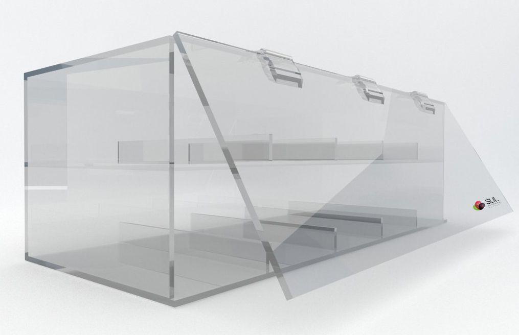 Caixa organizadora em acrílico com 10 divisórias para objetos e celulares
