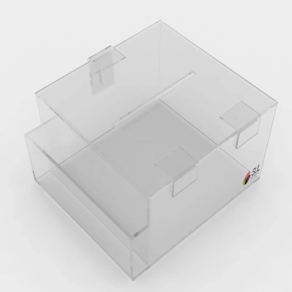 Caixa urna de Sugestões em acrílico com Porta Folhetos para Balcão