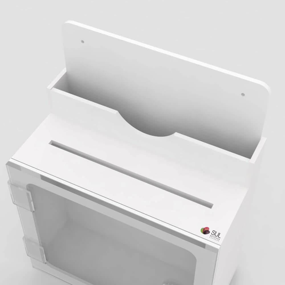 Caixa urna de sugestões em acrílico branco de parede | Modelo Premium