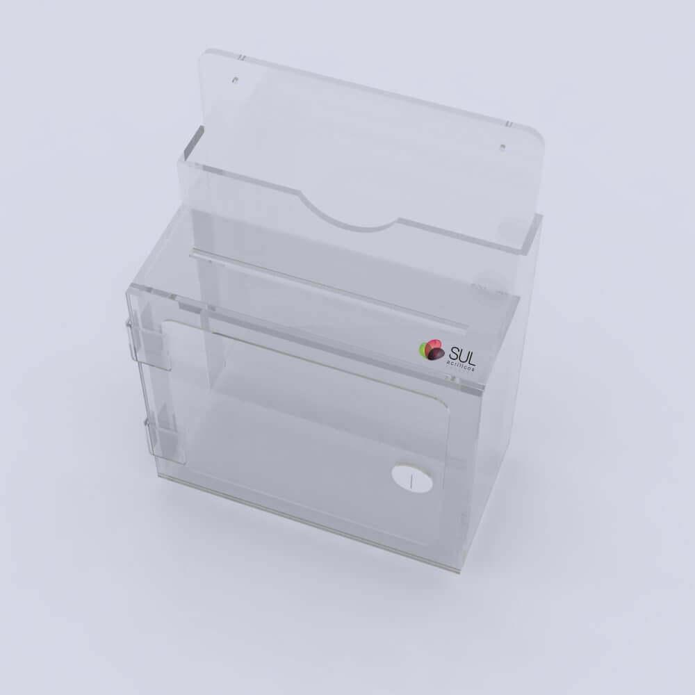 Caixa urna de sugestões em acrílico com porta folhetos de parede | Modelo Premium