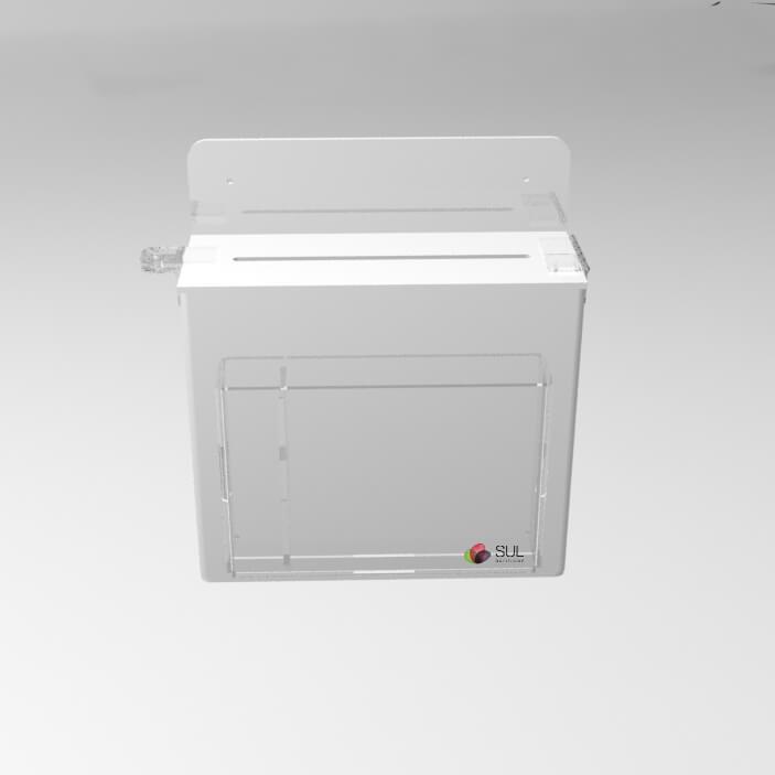 Caixa urna de sugestões em acrílico branco com porta folhetos de parede | Modelo Econo
