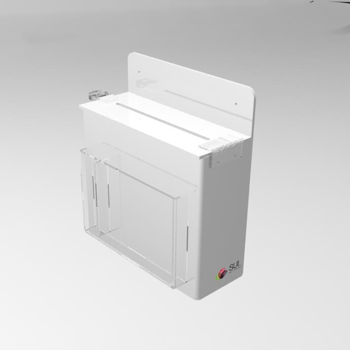 Caixa de Sugestões em Acrílico Branco c/ Porta Folhetos de Parede | Mod. Econo