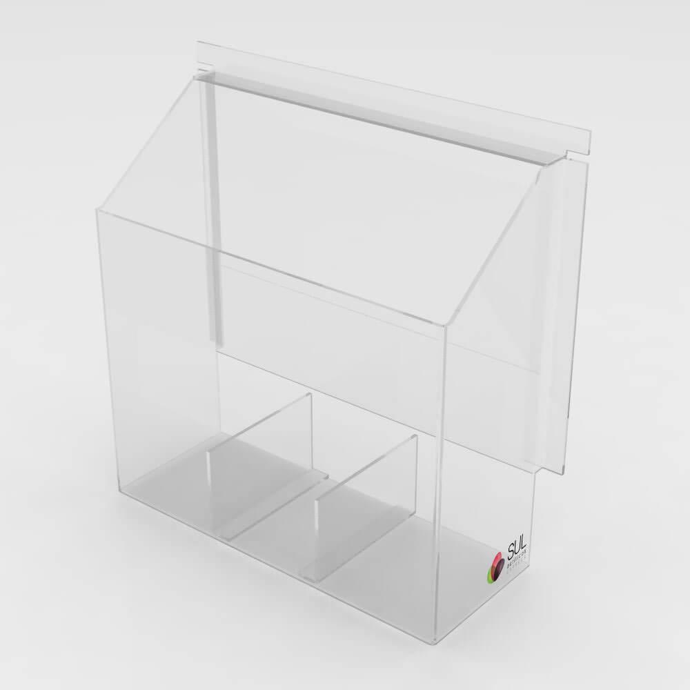 Caixa de Acrílico Passa Objetos e Volumes p/ Bancos