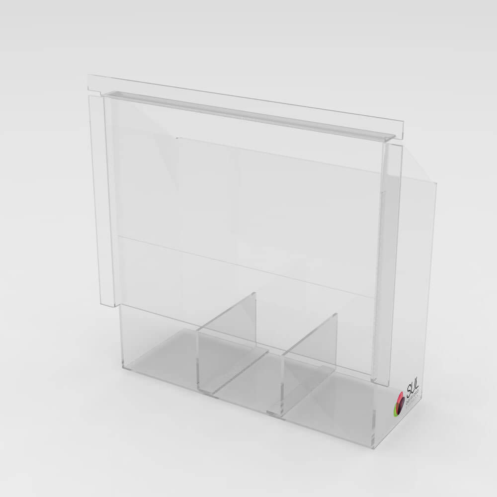 Caixa em acrílico passa objetos metálicos coletora para segurança em bancos
