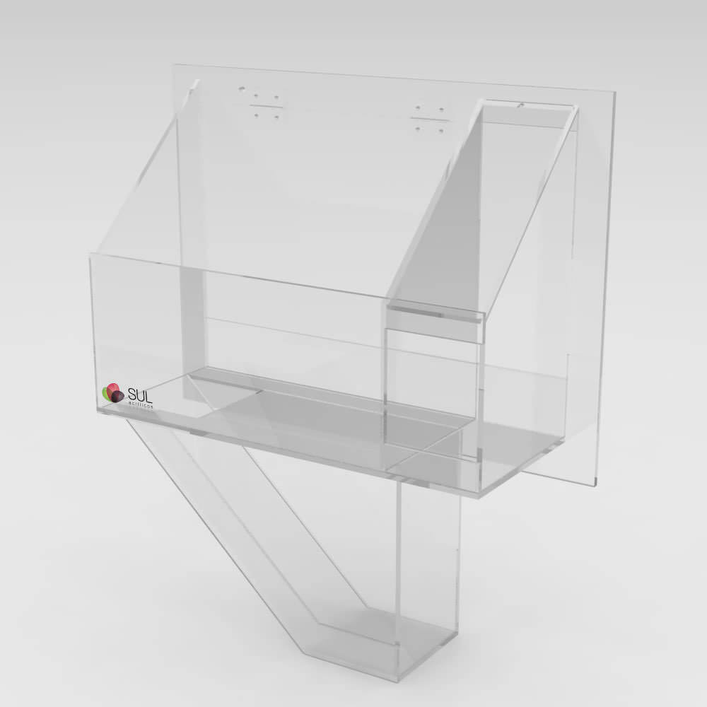 Caixa em acrílico passa objetos metálicos coletora para segurança em bancos | Com porta guarda chuvas