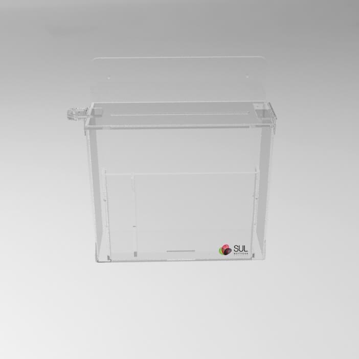 Caixa urna de sugestões em acrílico com porta folhetos de parede | Modelo Econo