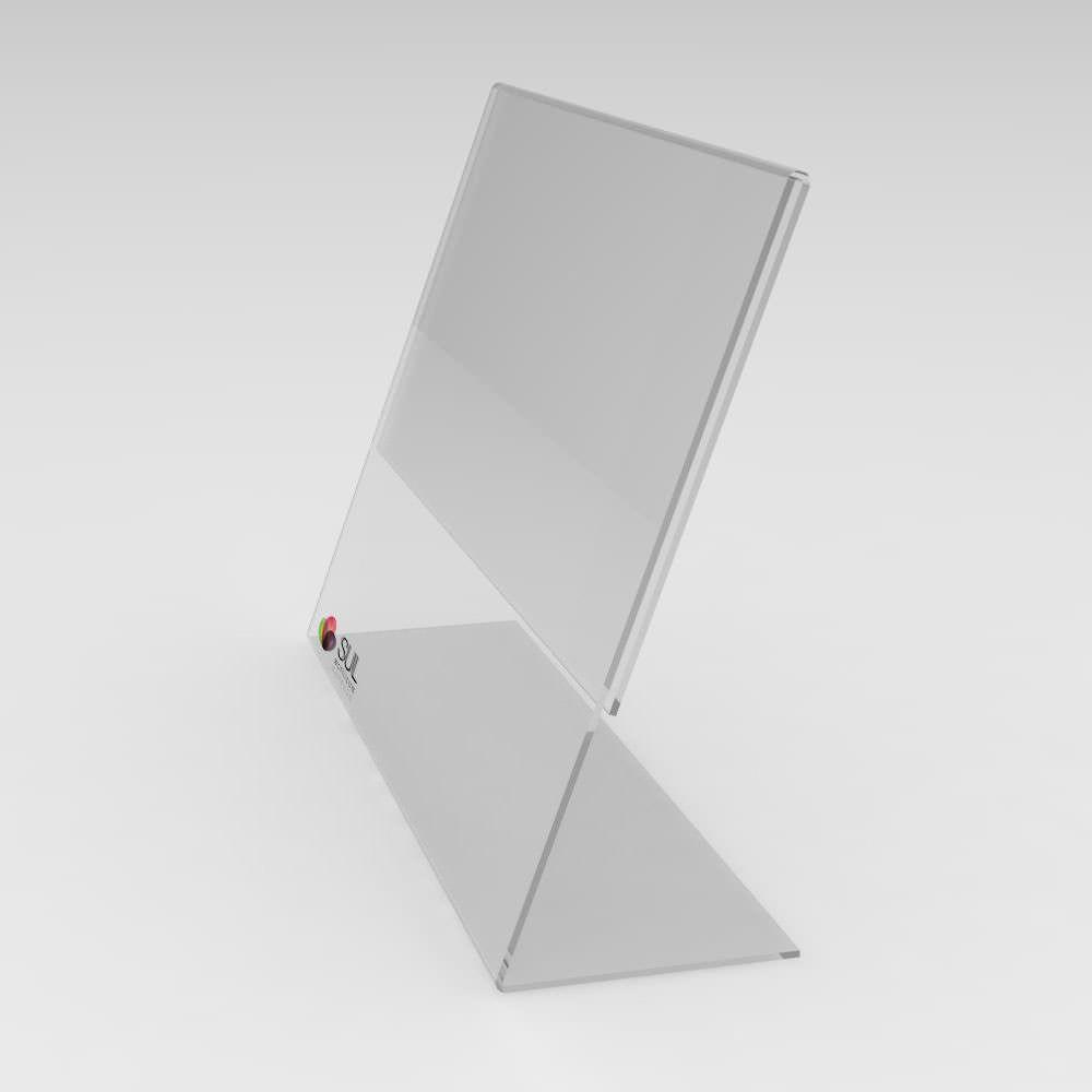 Display expositor em L porta folha A5 horizontal mesa e balcão | 4 unidades