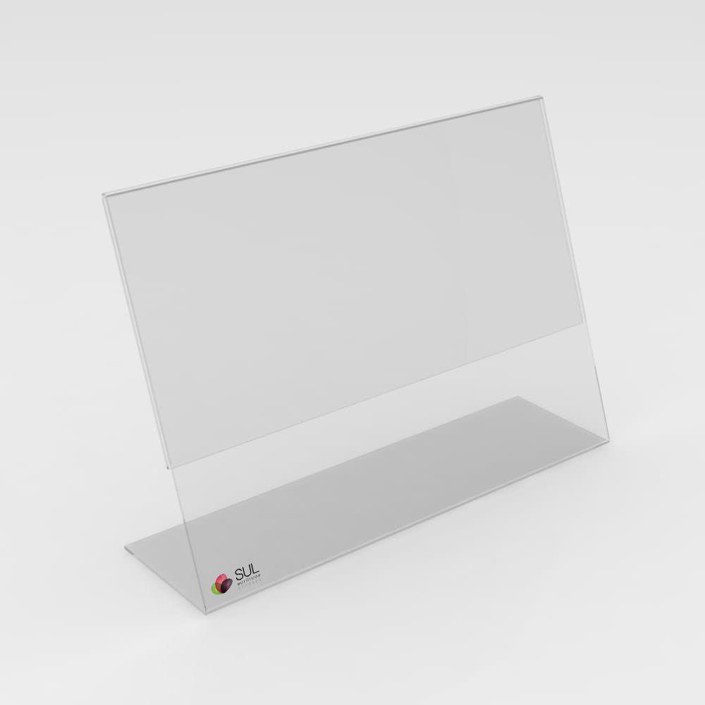 Display expositor em L porta folha A6 horizontal mesa e balcão   4 unidades