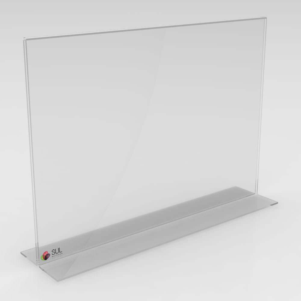 Display porta folha, flyer ou avisos A5 modelo T horizontal - 4 unidades