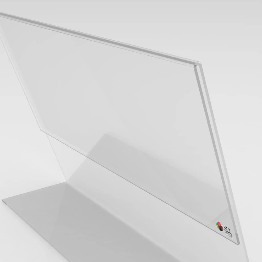 Display expositor em L porta folha A4 horizontal mesa e balcão