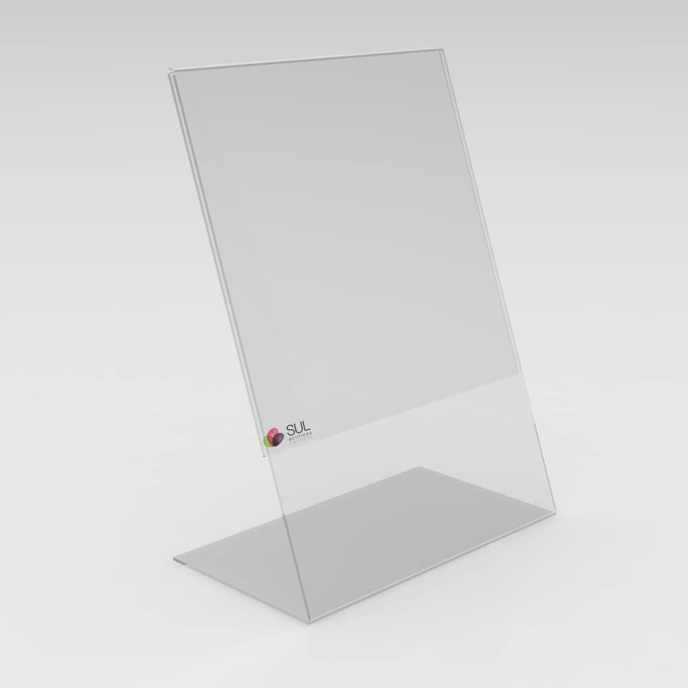 Display expositor em L porta folha A4 vertical mesa e balcão