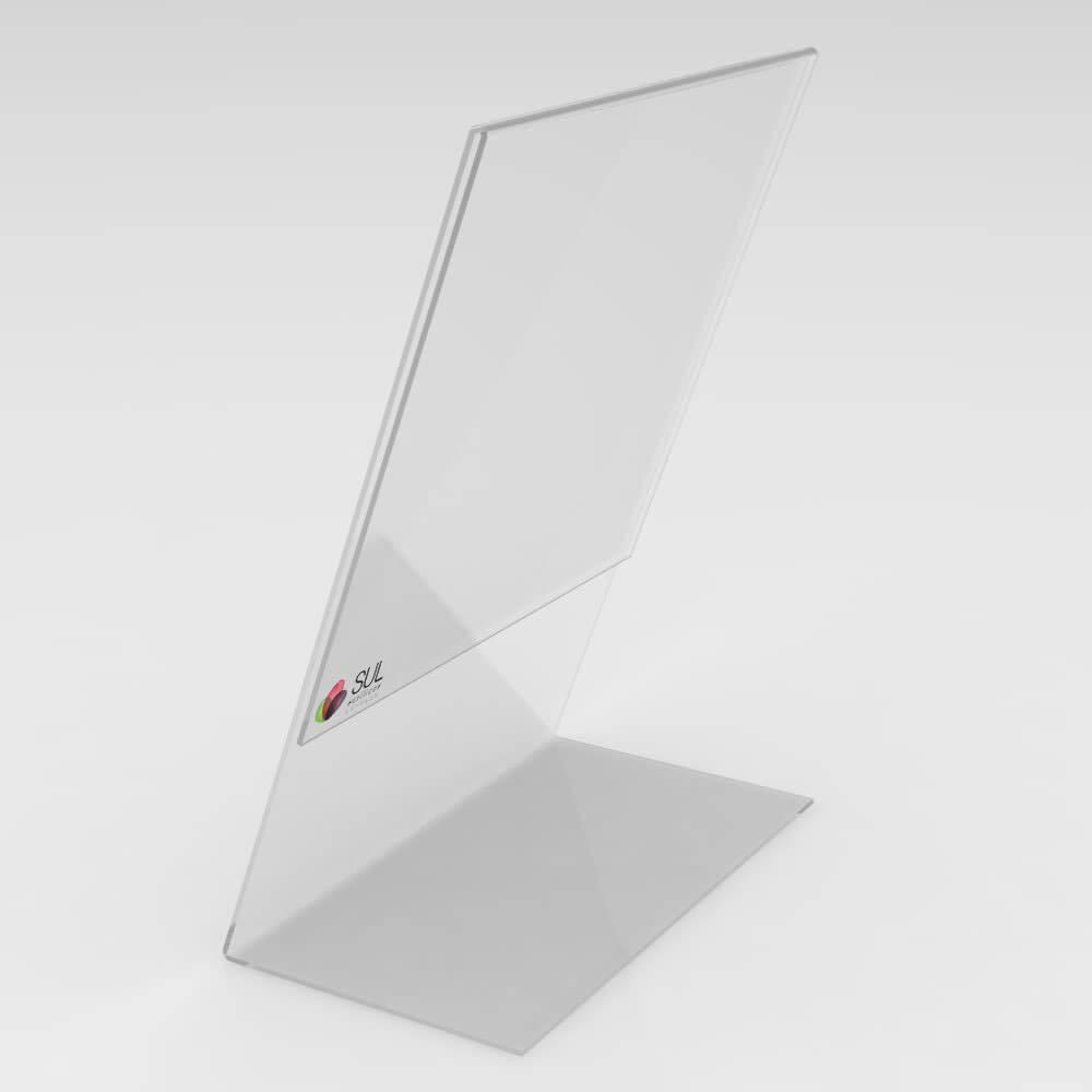 Display expositor em L porta folha A5 horizontal mesa e balcão