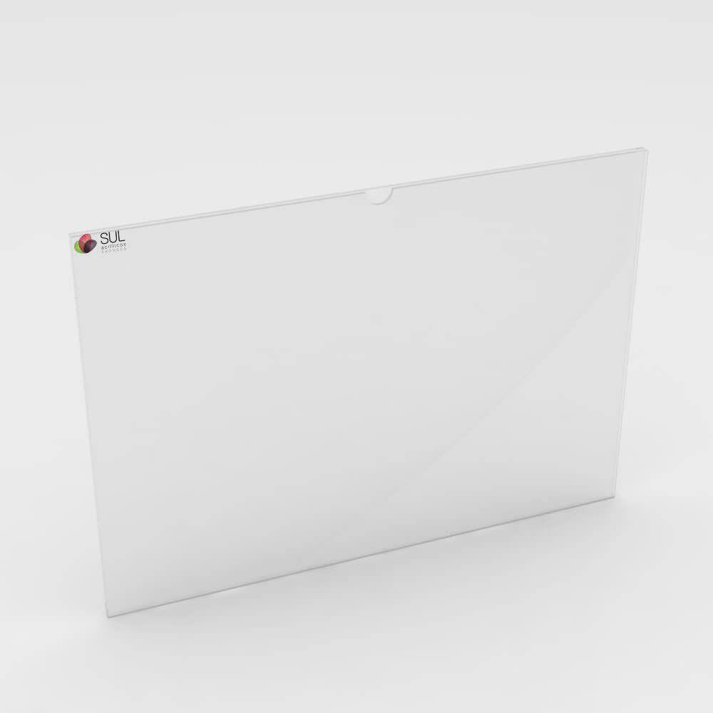 Display sanduíche dobrado porta folha A6 horizontal