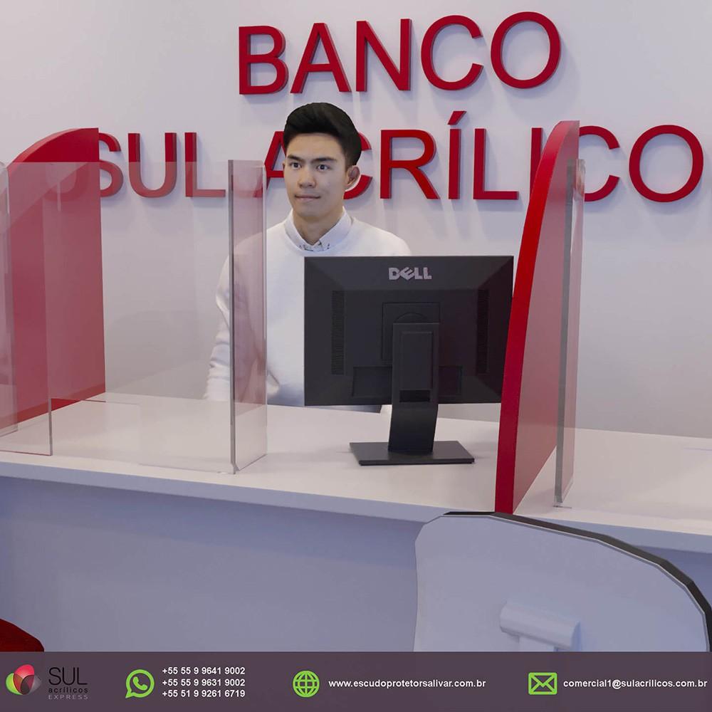 Barreira de Proteção p/ Mesas de Bancos em Acrílico