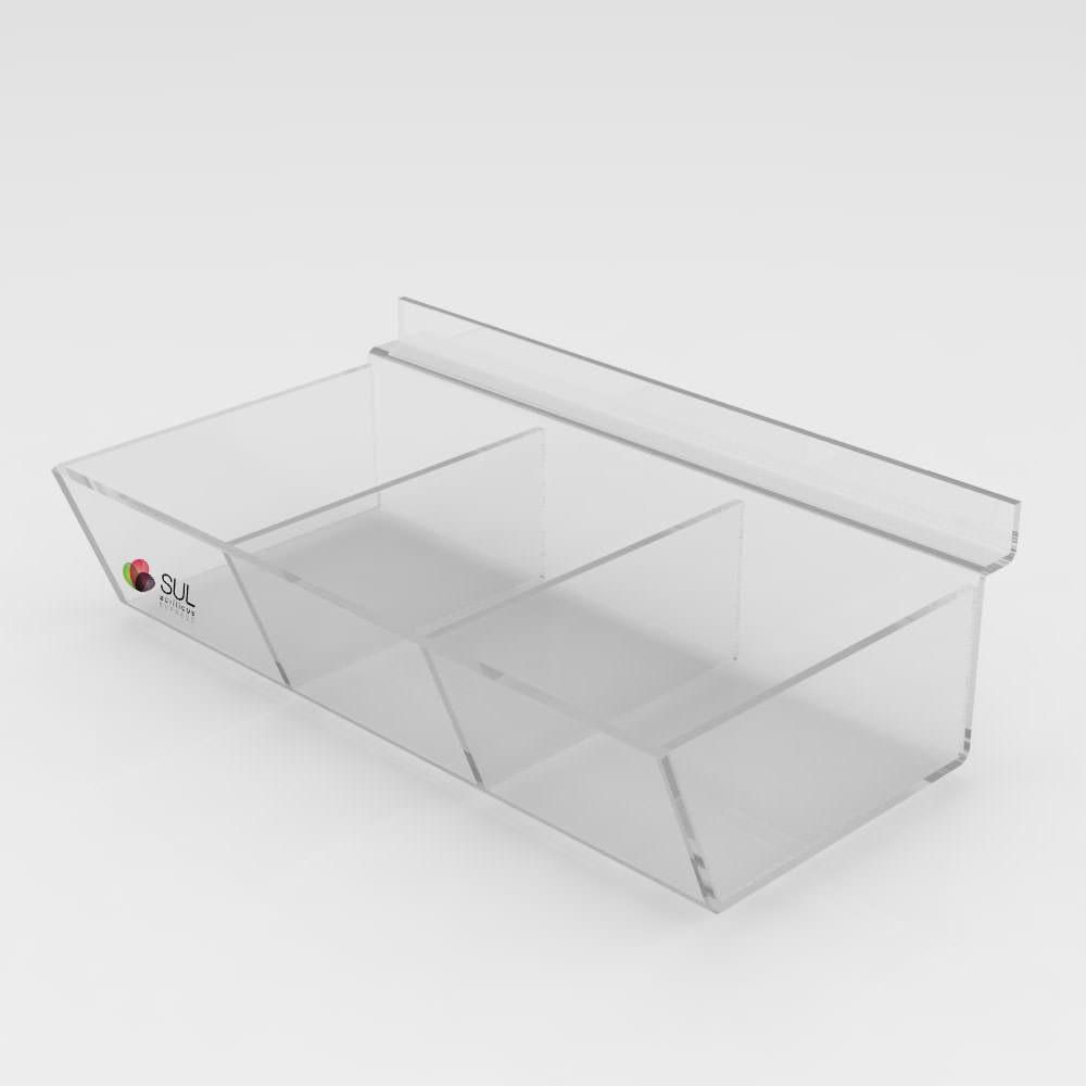 Expositor Caixa Inclinada Canaletado cristal com Divisória - 5 Unidades