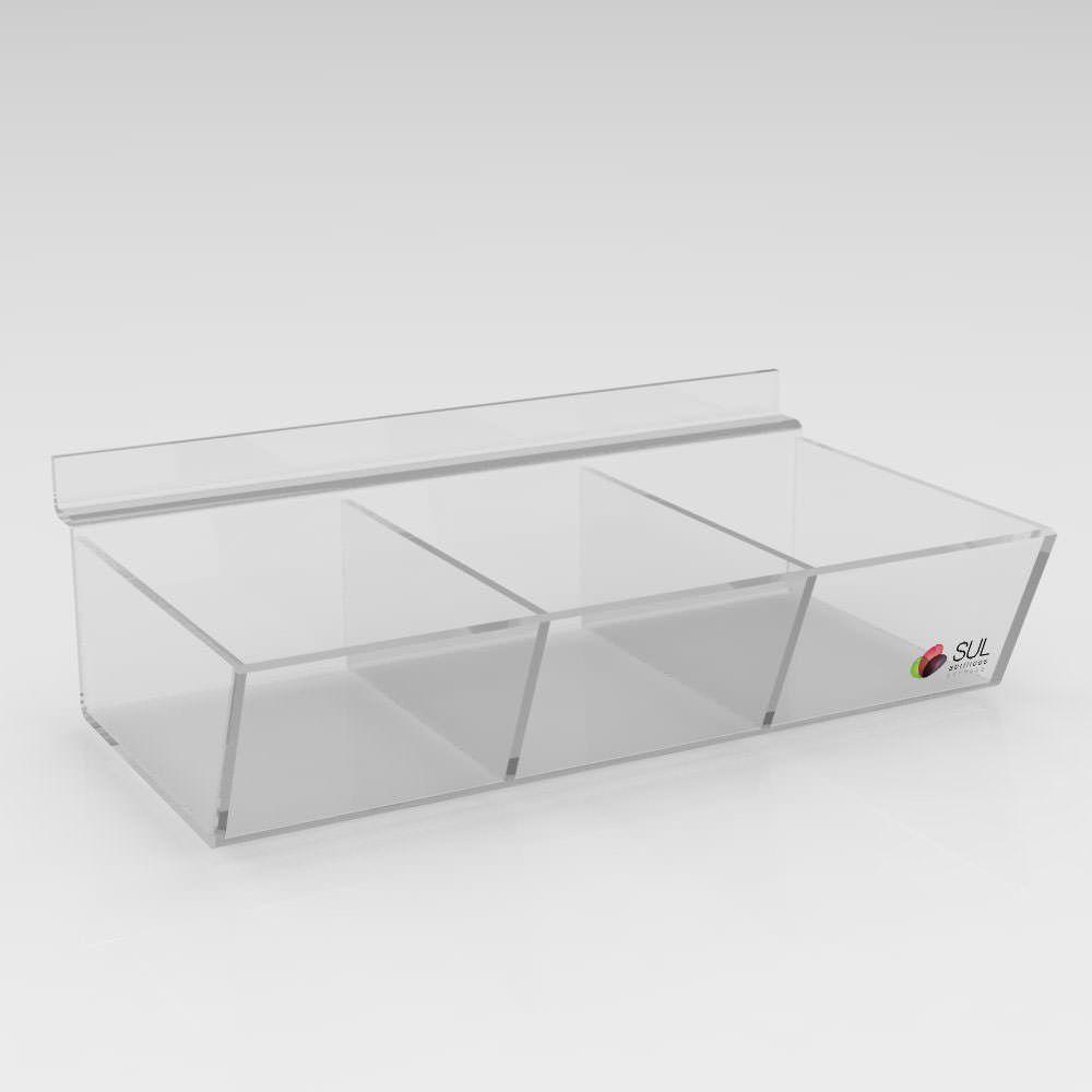 Expositor Caixa Inclinada Canaletado cristal com Divisória -Pcte 5 Unidades