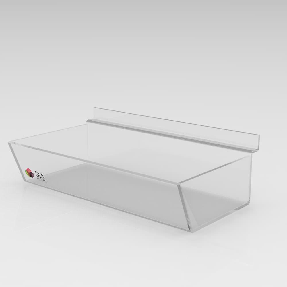 Expositor Caixa Inclinada Canaletado cristal Sem Divisórias - 5 Unidades