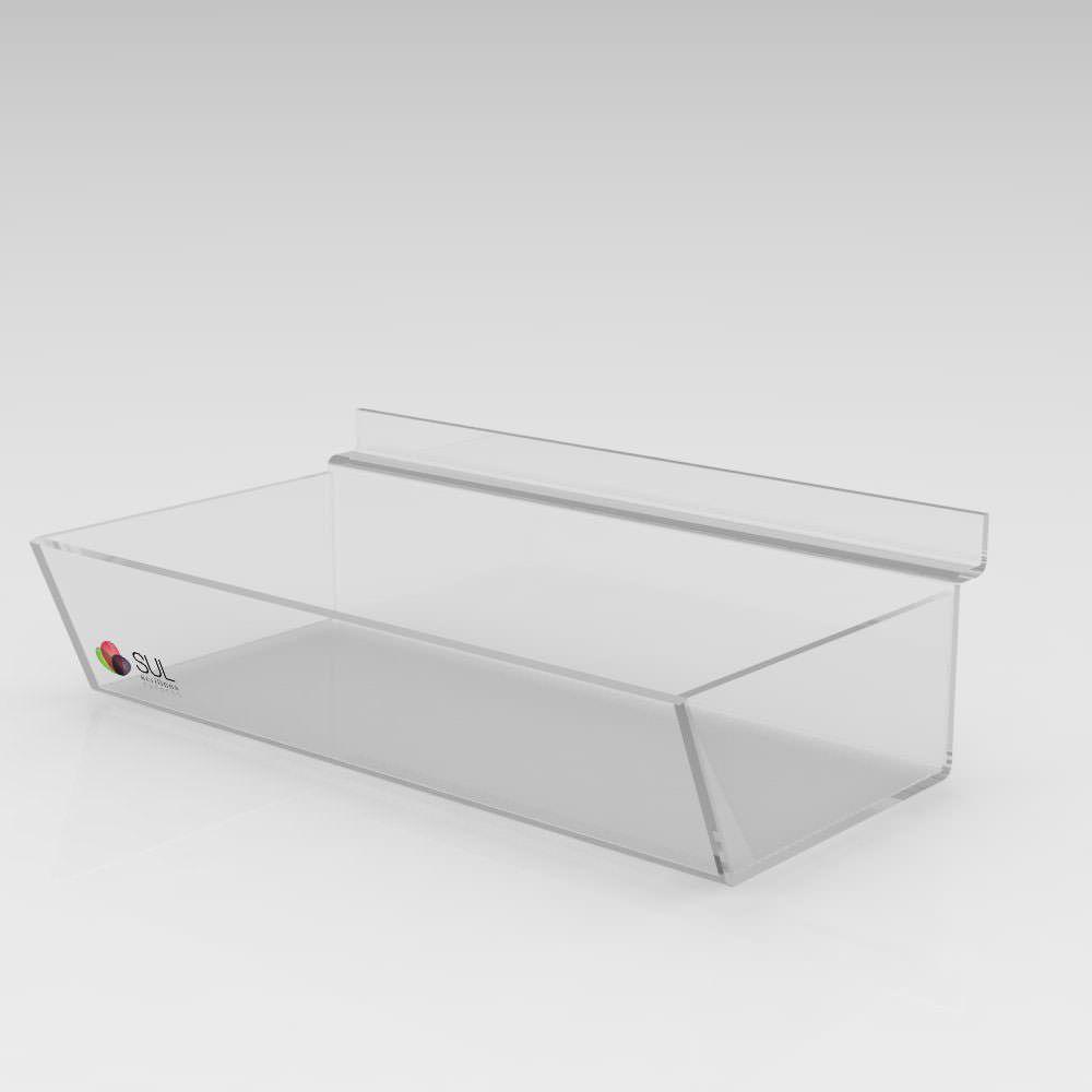 Expositor Caixa Inclinada Canaletado cristal Sem Divisórias - Pcte 5 Unidades
