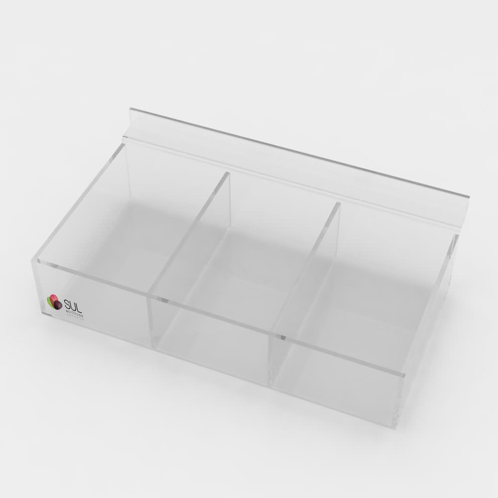 Expositor bandeja caixa com divisórias porta acessórios para painel canaletado - 5 unidades