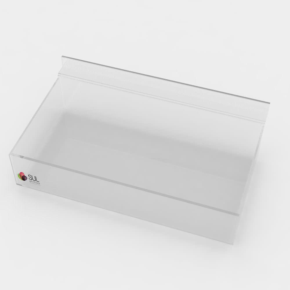 Expositor Caixa Retangular canaletado cristal sem Divisórias - Pcte 5 Unidades