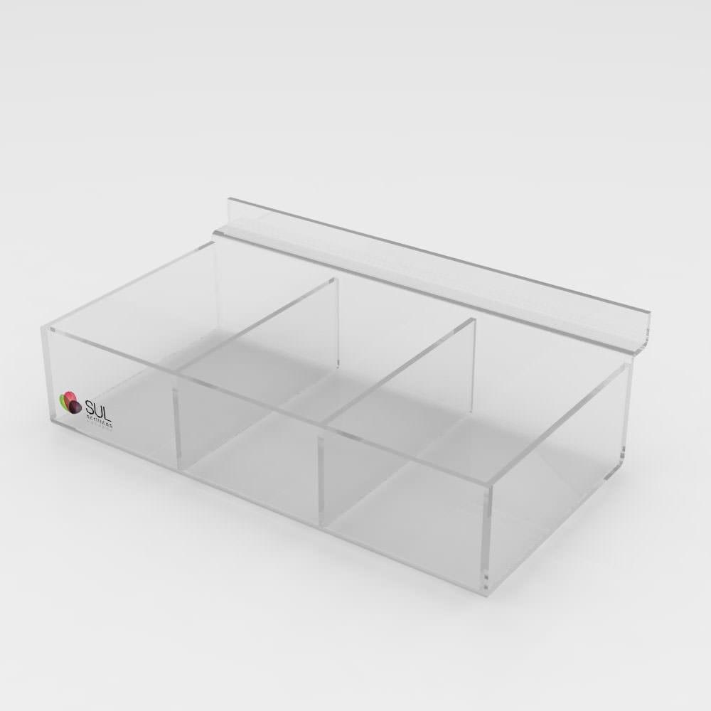 Expositor Caixa Retangular canaletado cristal com Divisórias - 5 Unidades