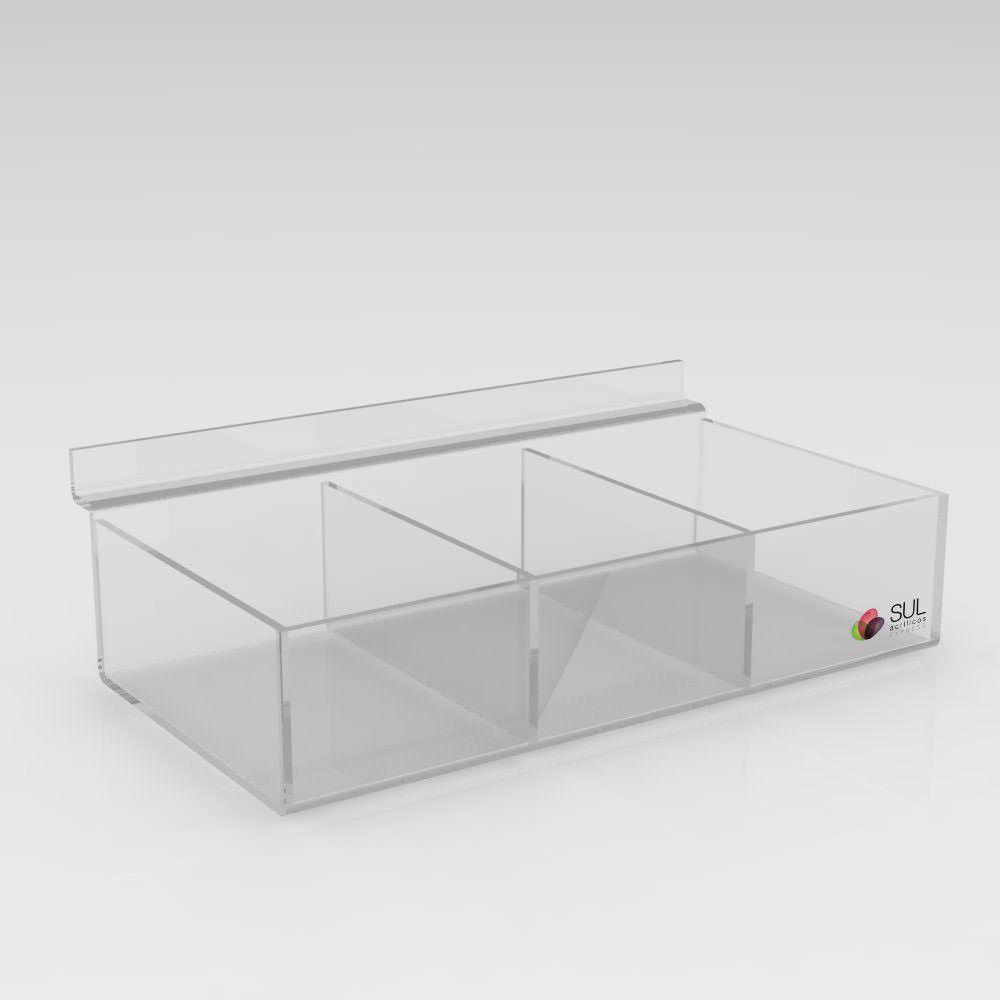 Expositor Caixa Retangular canaletado cristal com Divisórias - Pcte 5 Unidades