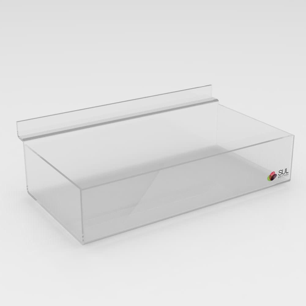 Expositor Caixa Retangular canaletado cristal sem Divisórias - 5 Unidades