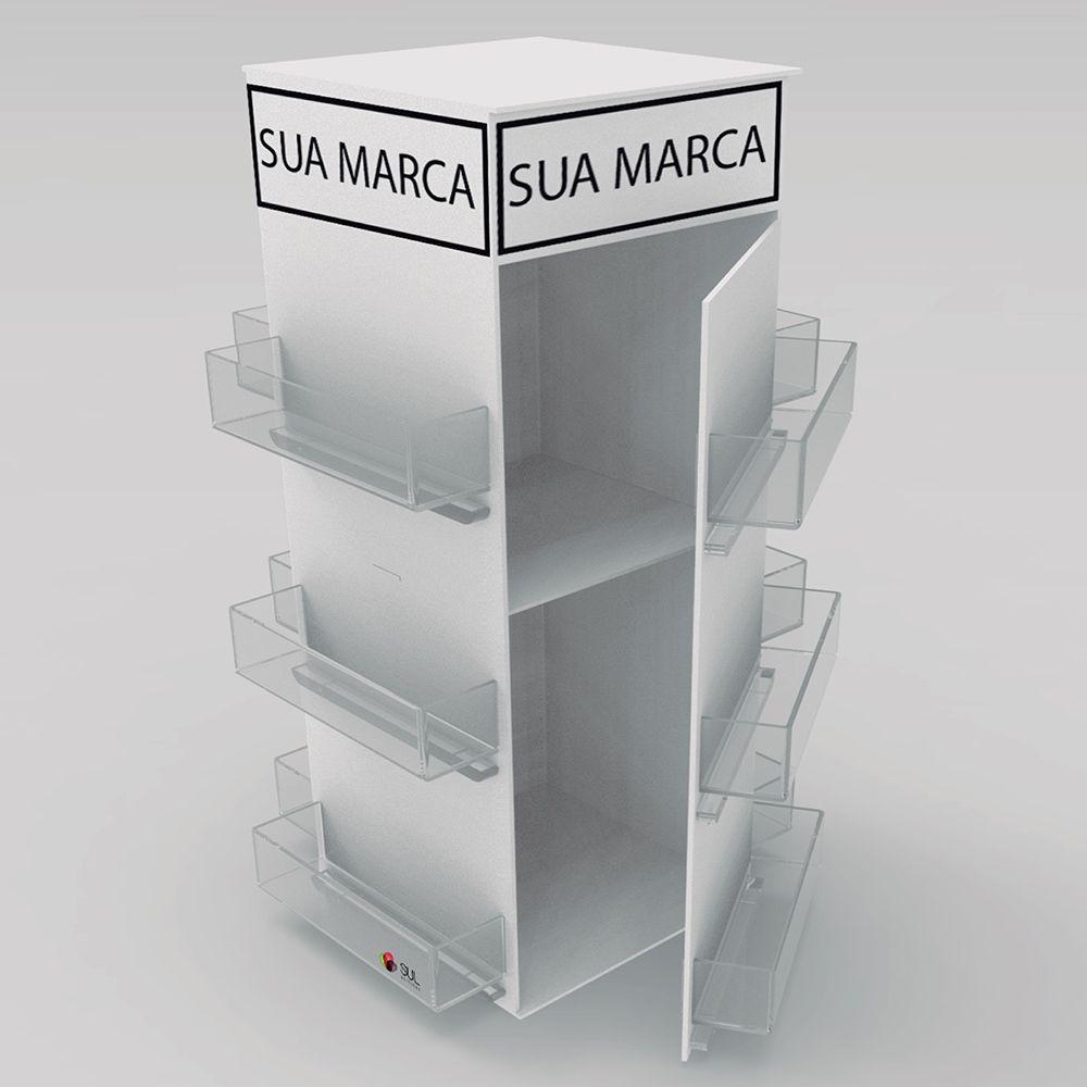 Display expositor em acrílico com tampa para acessórios de celular - Modelo Torre